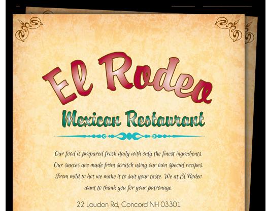 El Rodeo Mexican Menu